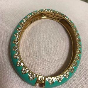 Stella & Dot turquoise and rhinestone bangle